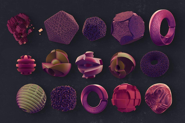 30个创意抽象科幻3D图形纹理素材 3D Abstract Shapes 17插图(5)