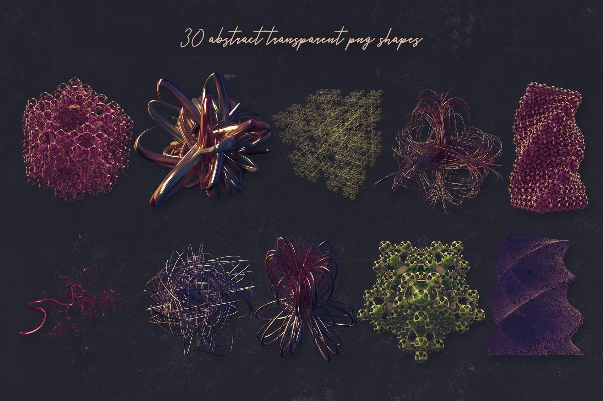 30个创意抽象科幻3D图形纹理素材 3D Abstract Shapes 15插图(6)