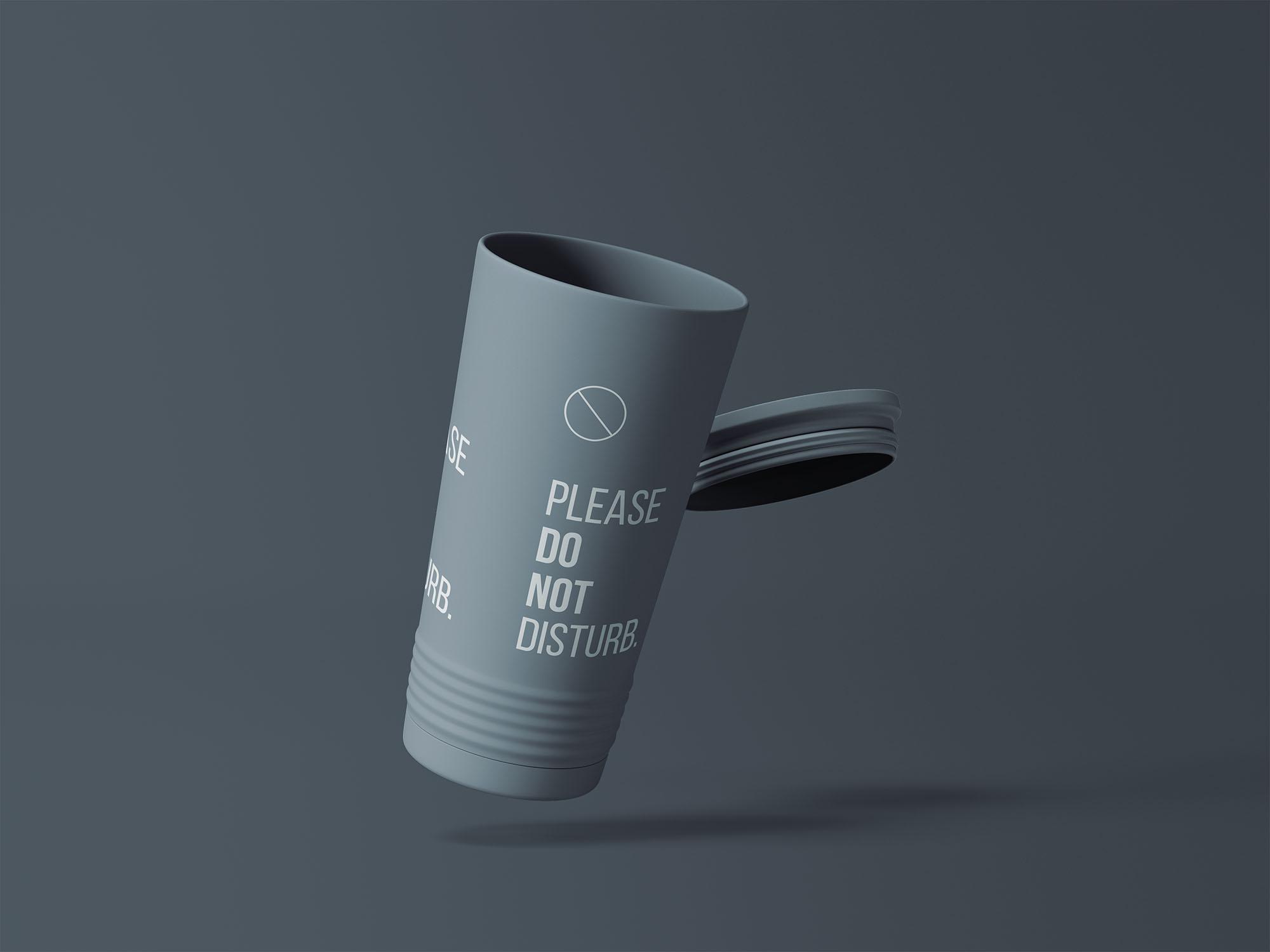 带盖塑料水杯样机模板 Tumbler Cup Mockup插图