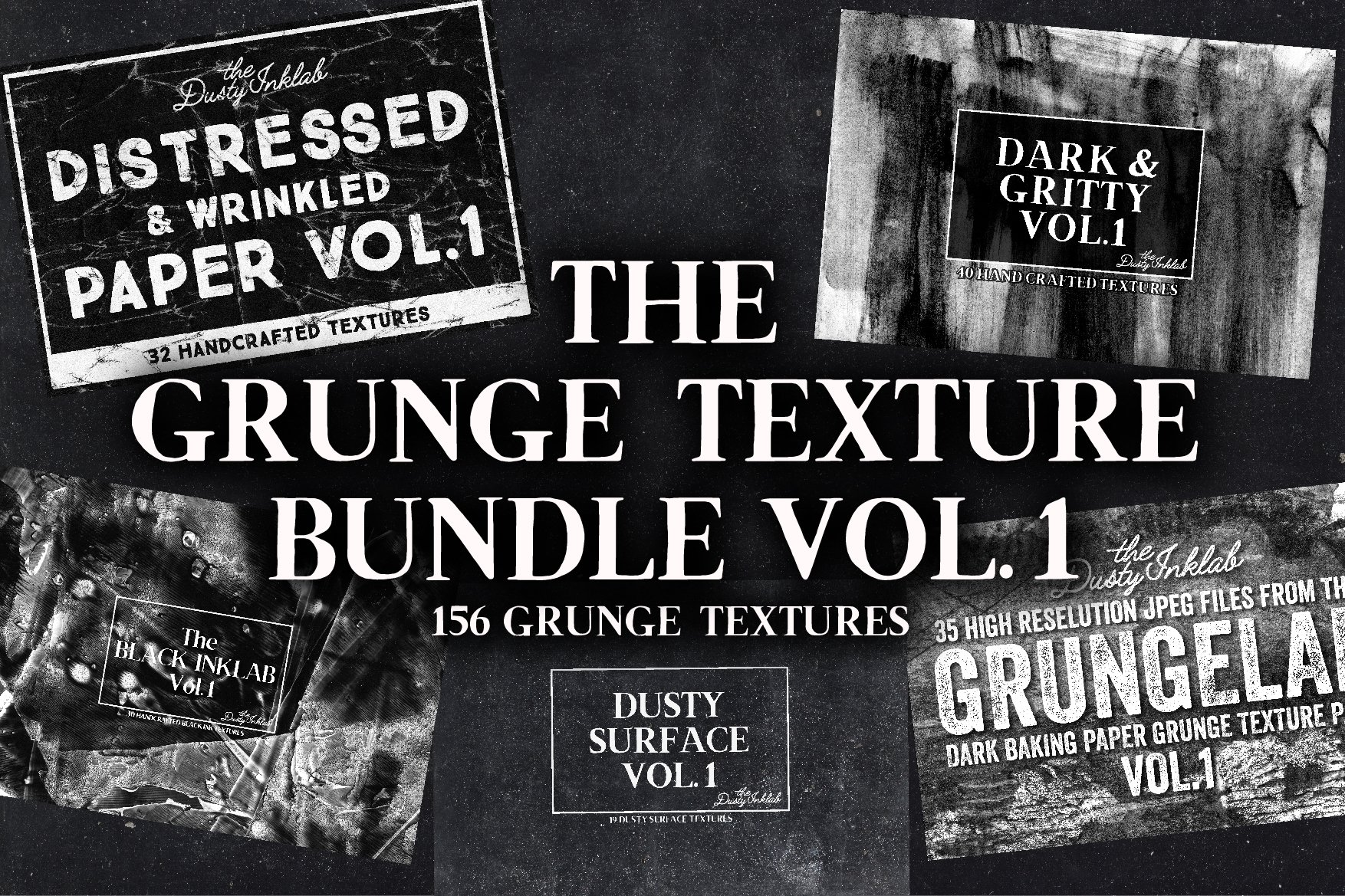 156款复古做旧折痕磨损褶皱纸张背景纹理素材合集 The Grunge Texture Bundle Vol. 1插图