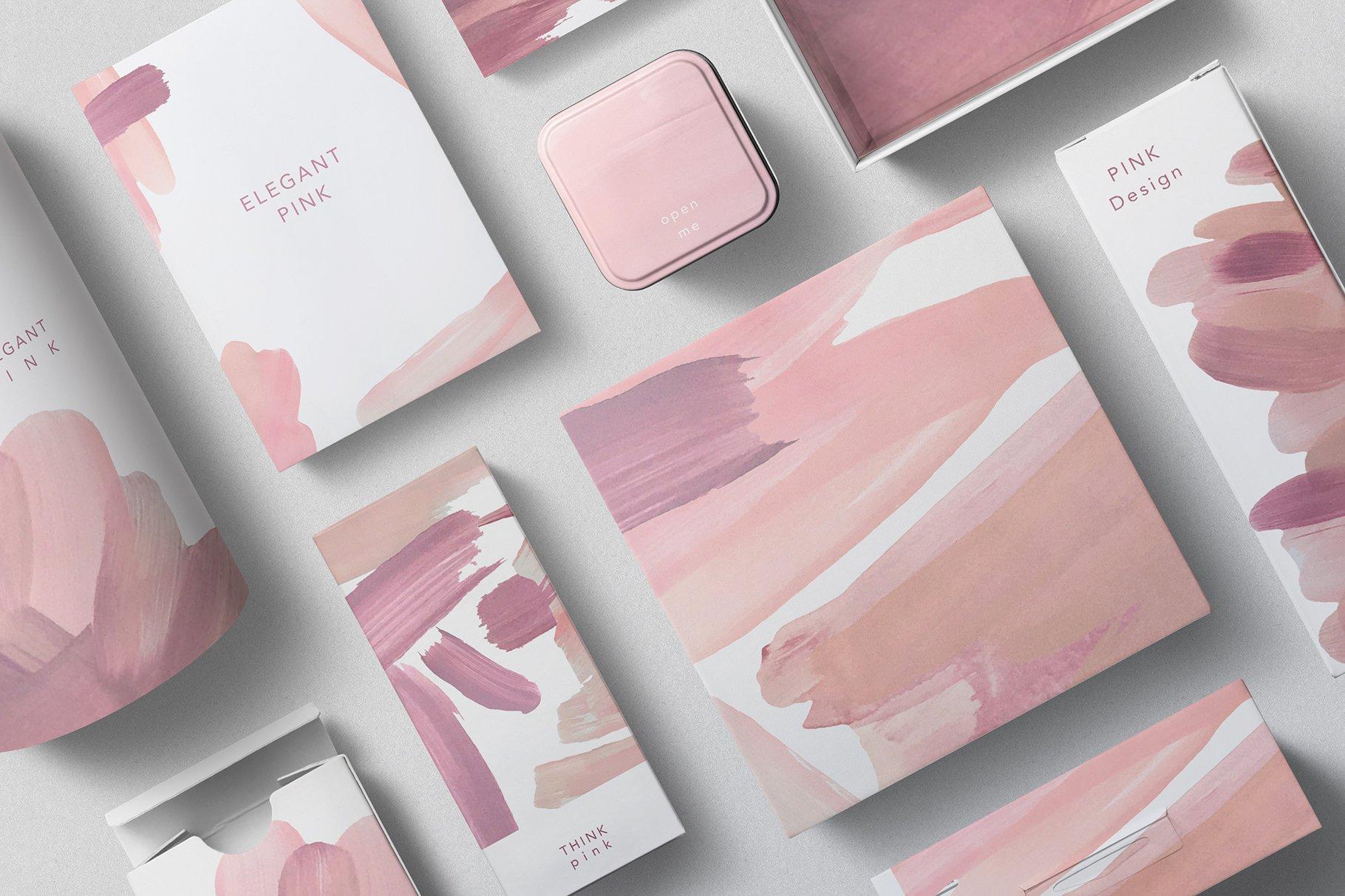 18个粉色画笔笔刷PNG纹理素材 PINK Textures Vol.1插图(1)