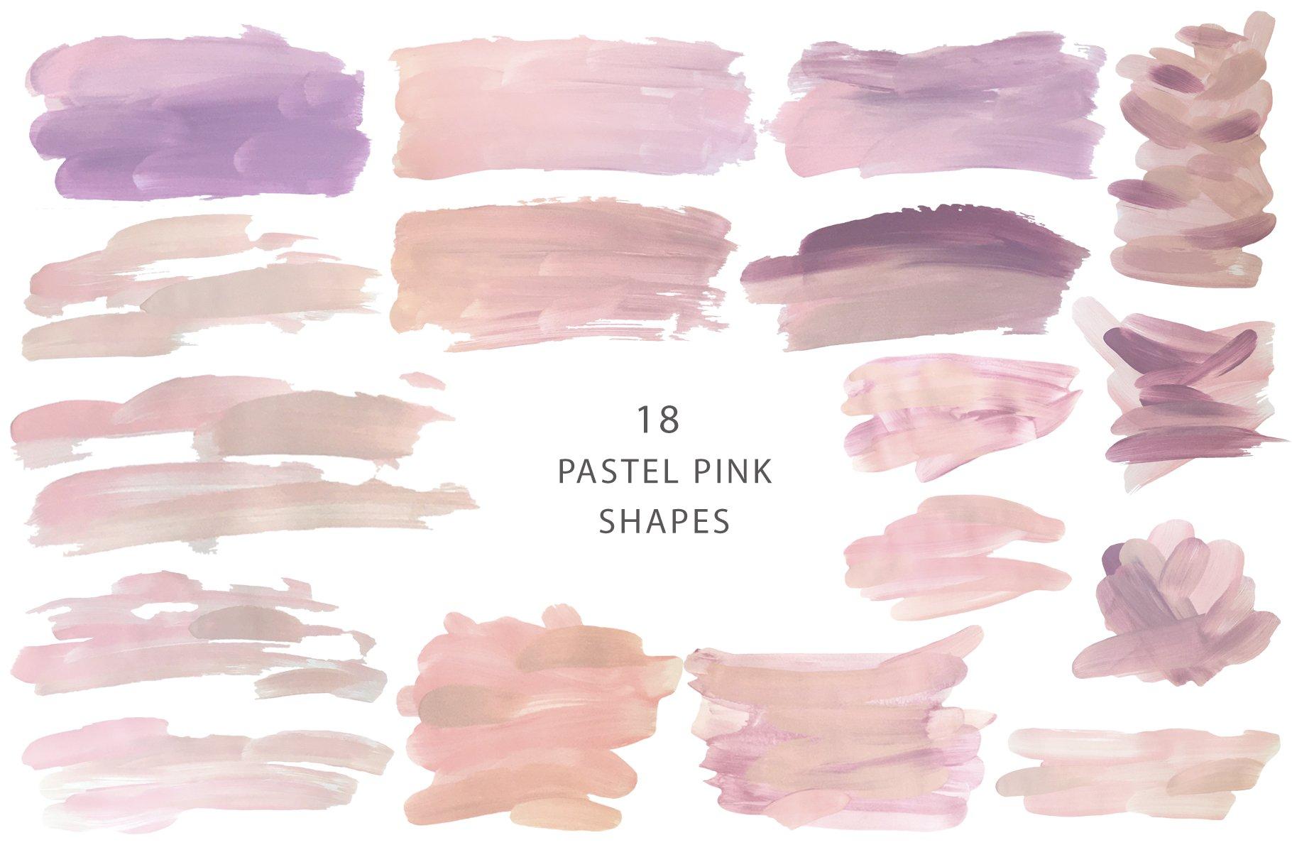 18个粉色画笔笔刷PNG纹理素材 PINK Textures Vol.1插图(5)