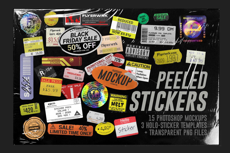 潮流镭射不干胶贴纸塑料袋样机素材 Peeled Paper Stickers插图