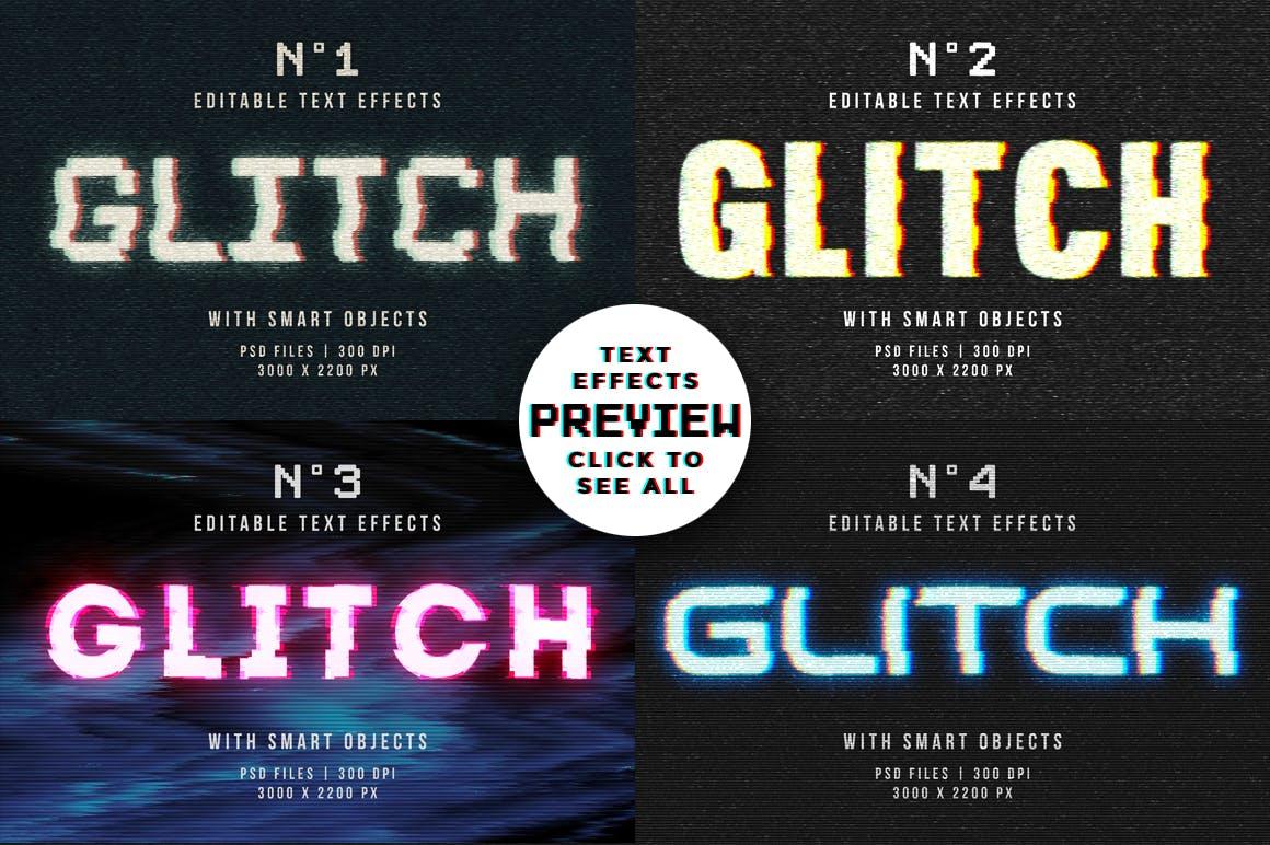 16个故障风文字图层样式模板 Photoshop Glitch Text Effects插图(11)