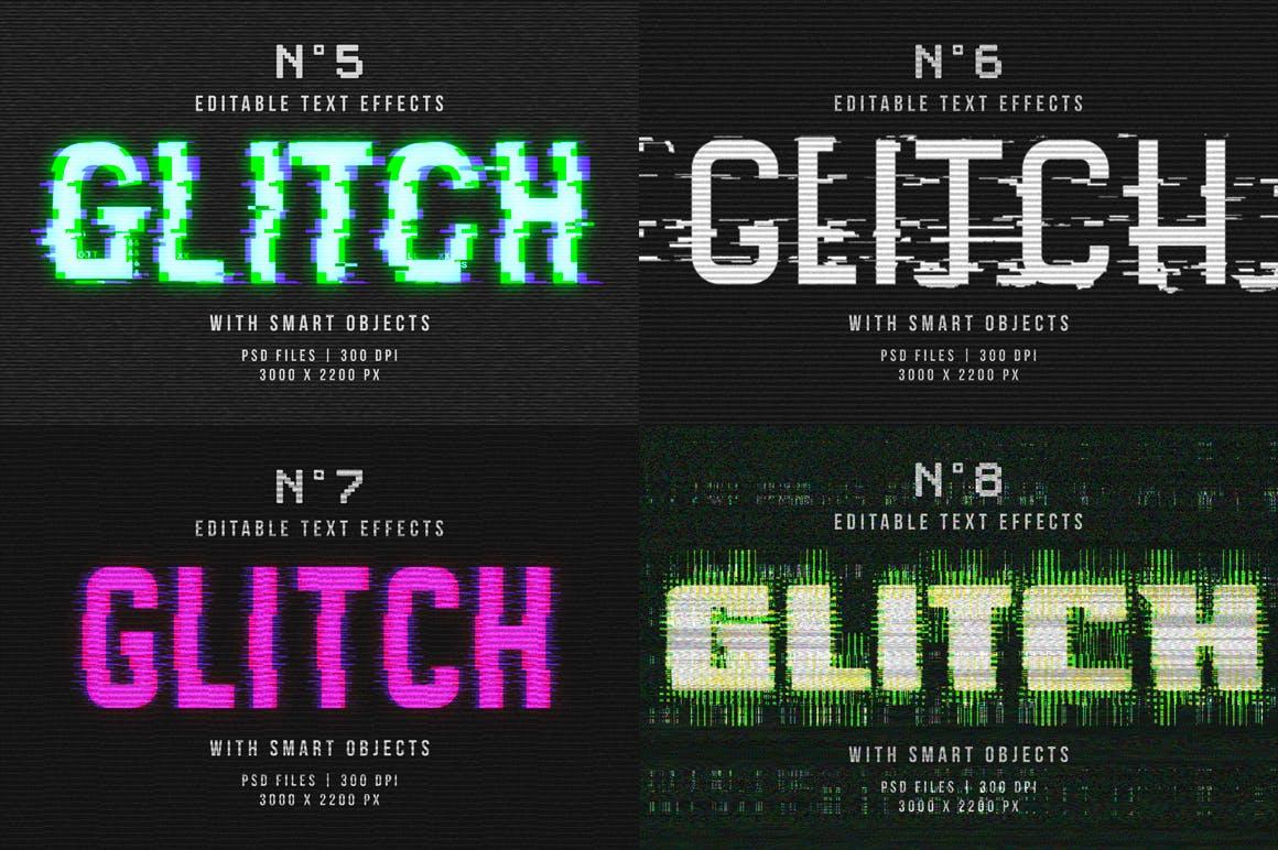 16个故障风文字图层样式模板 Photoshop Glitch Text Effects插图(12)