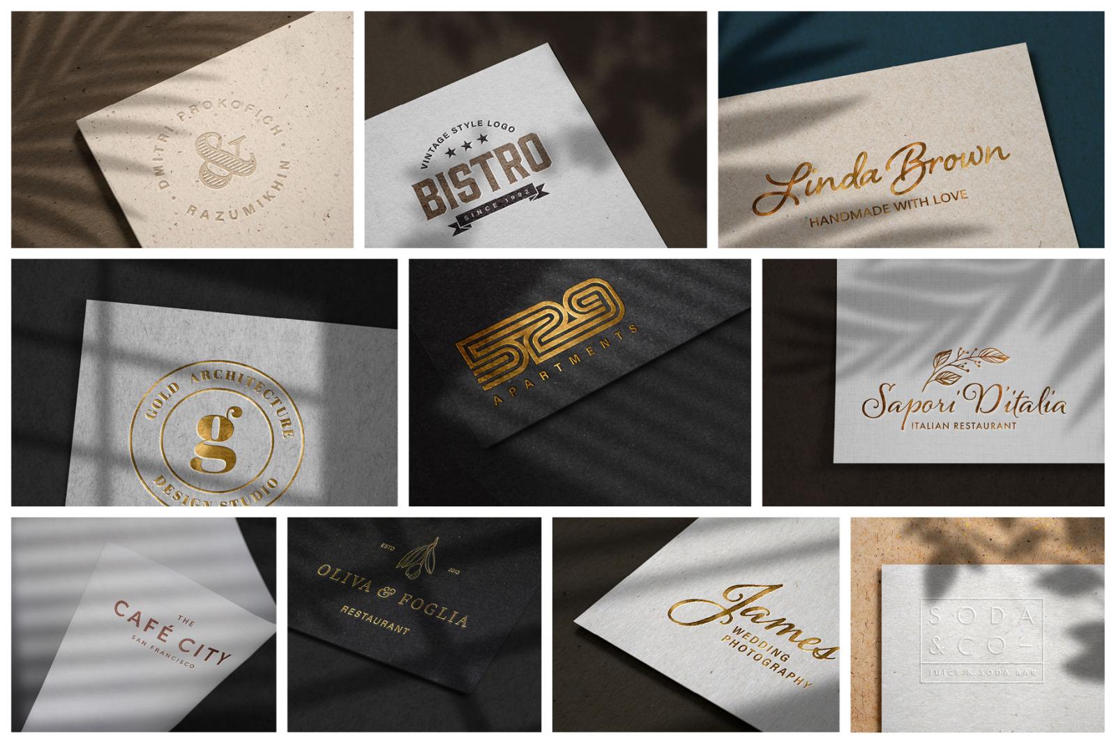 10款烫金压印徽标标志印刷工艺展示样机 Modern Luxury Logo Mockup Set 2插图(1)