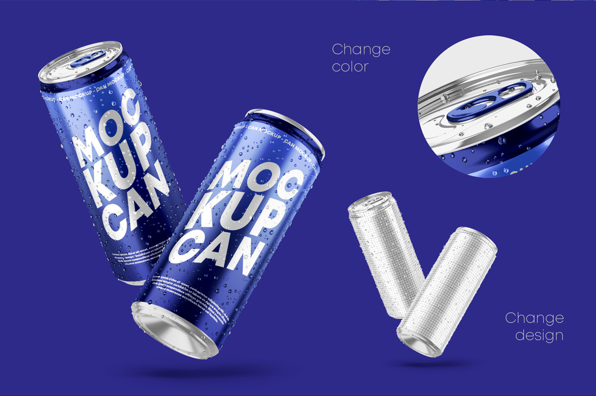 6款光泽饮料啤酒易拉罐样机模板 Glossy Metallic Can Mockup Set插图(1)