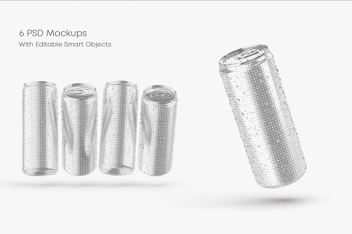 6款光泽饮料啤酒易拉罐样机模板 Glossy Metallic Can Mockup Set插图(2)