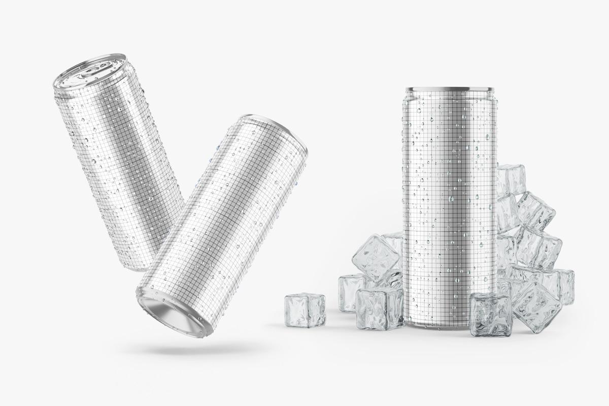 6款光泽饮料啤酒易拉罐样机模板 Glossy Metallic Can Mockup Set插图(3)