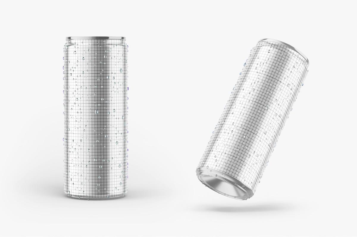 6款光泽饮料啤酒易拉罐样机模板 Glossy Metallic Can Mockup Set插图(4)