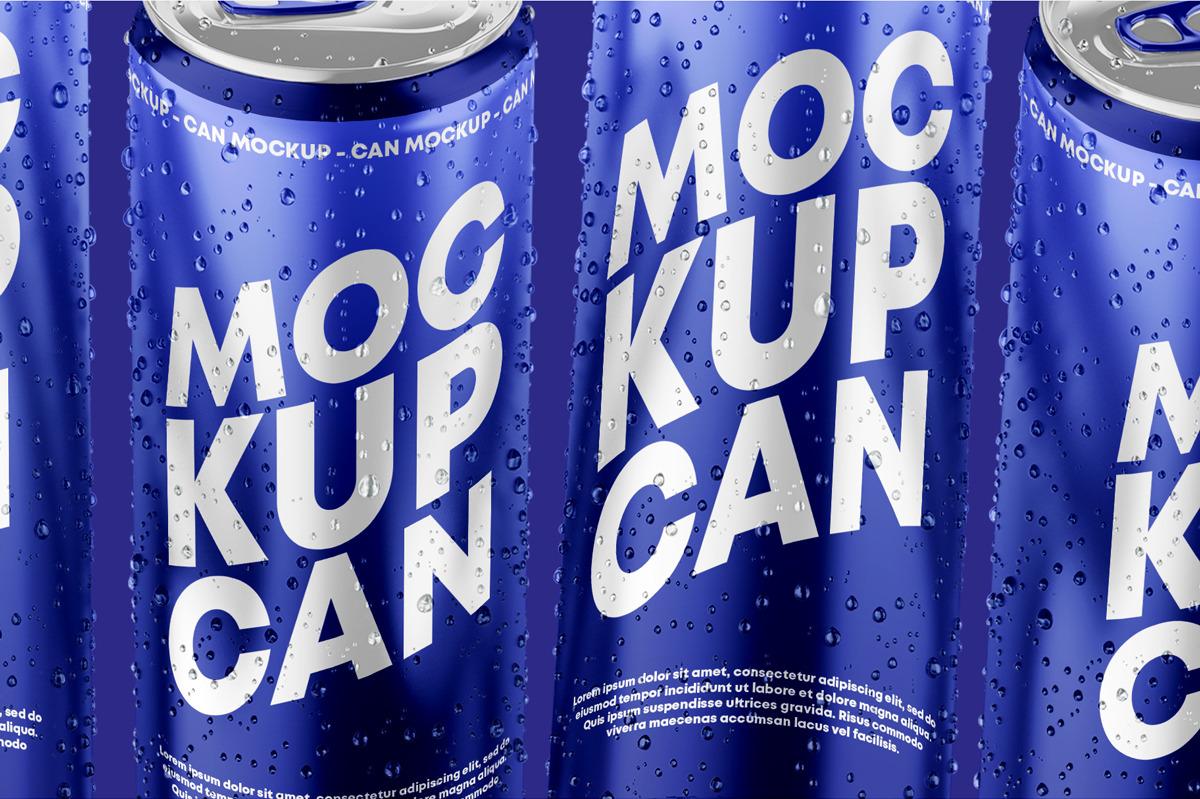 6款光泽饮料啤酒易拉罐样机模板 Glossy Metallic Can Mockup Set插图(5)