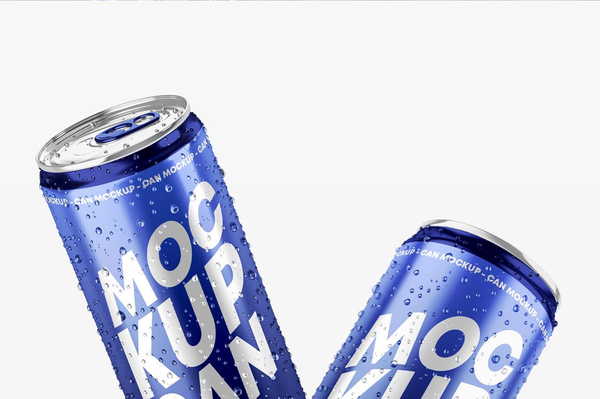 6款光泽饮料啤酒易拉罐样机模板 Glossy Metallic Can Mockup Set插图(6)