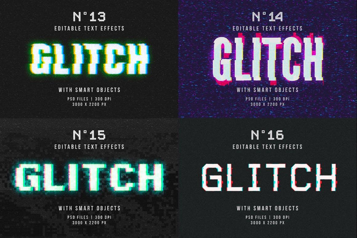 16个故障风文字图层样式模板 Photoshop Glitch Text Effects插图(14)