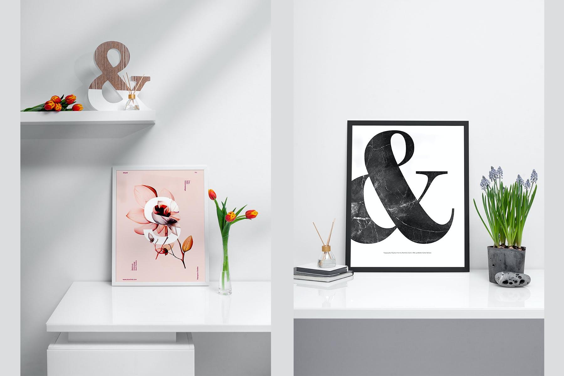 室内相片艺术品海报展示相框样机模板 Frame Mockup Home Style插图(1)