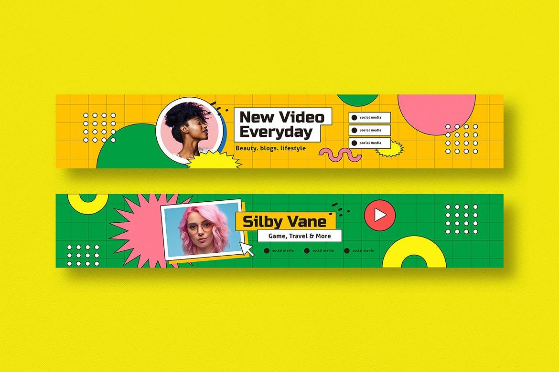 90年代潮流复古几何图形Banner设计矢量模板 90s Stream Youtube Cover插图1