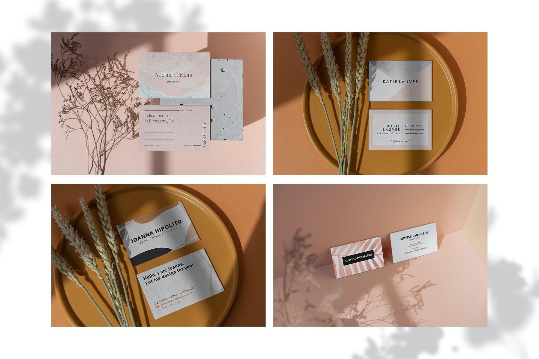 13款商务个人名片样机模板 Business Card Shadows Collection插图(2)