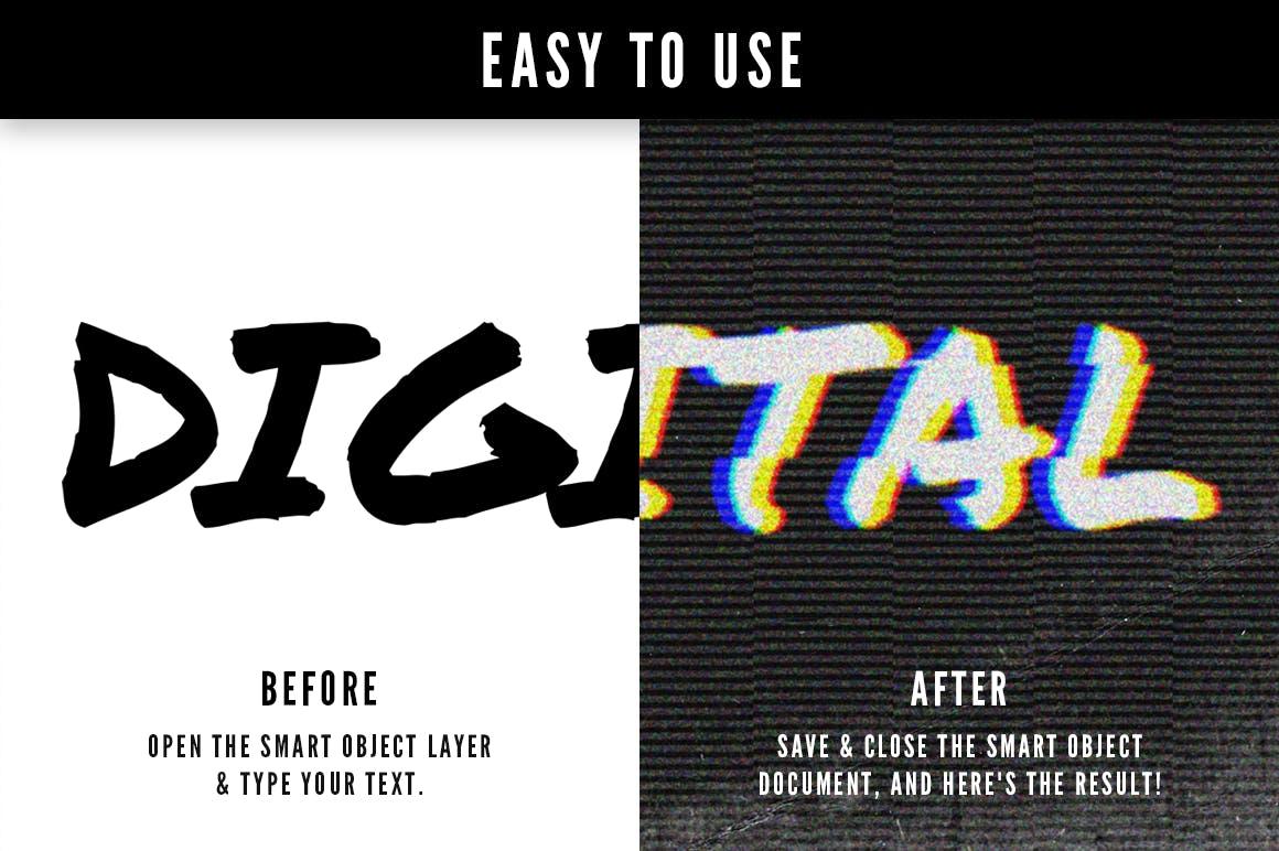 16个故障风文字图层样式模板 Photoshop Glitch Text Effects插图(2)