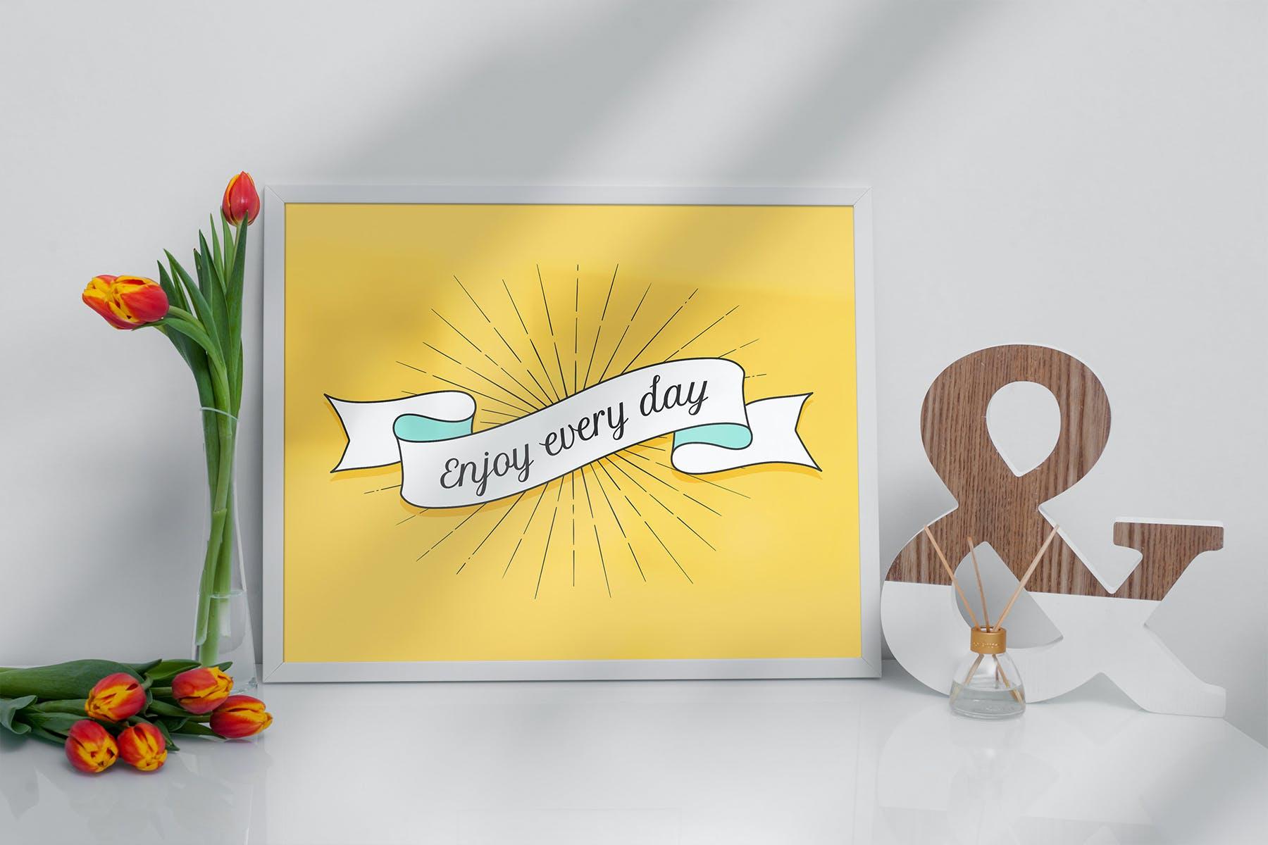 室内相片艺术品海报展示相框样机模板 Frame Mockup Home Style插图(4)
