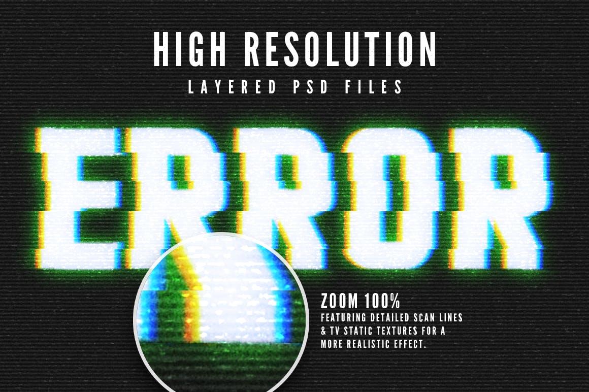 16个故障风文字图层样式模板 Photoshop Glitch Text Effects插图(4)