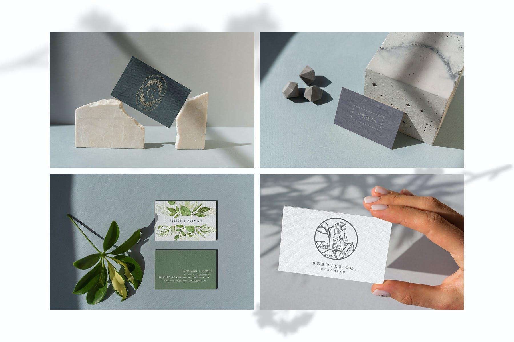 13款商务个人名片样机模板 Business Card Shadows Collection插图(4)