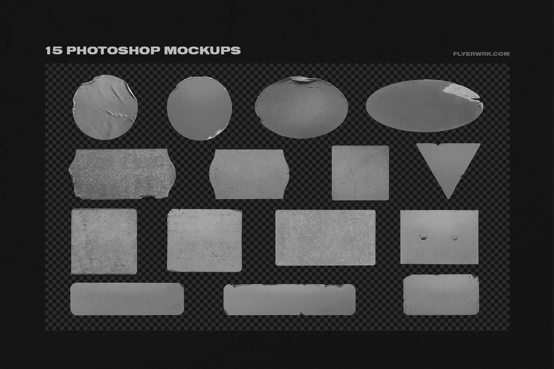 潮流镭射不干胶贴纸塑料袋样机素材 Peeled Paper Stickers插图(4)