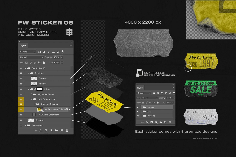 潮流镭射不干胶贴纸塑料袋样机素材 Peeled Paper Stickers插图(5)