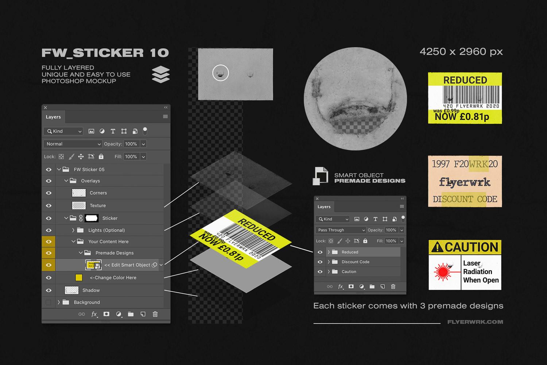 潮流镭射不干胶贴纸塑料袋样机素材 Peeled Paper Stickers插图(7)