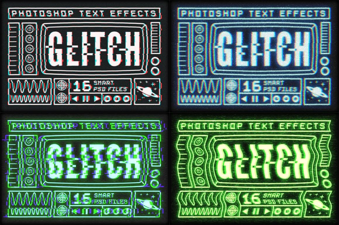 16个故障风文字图层样式模板 Photoshop Glitch Text Effects插图(8)