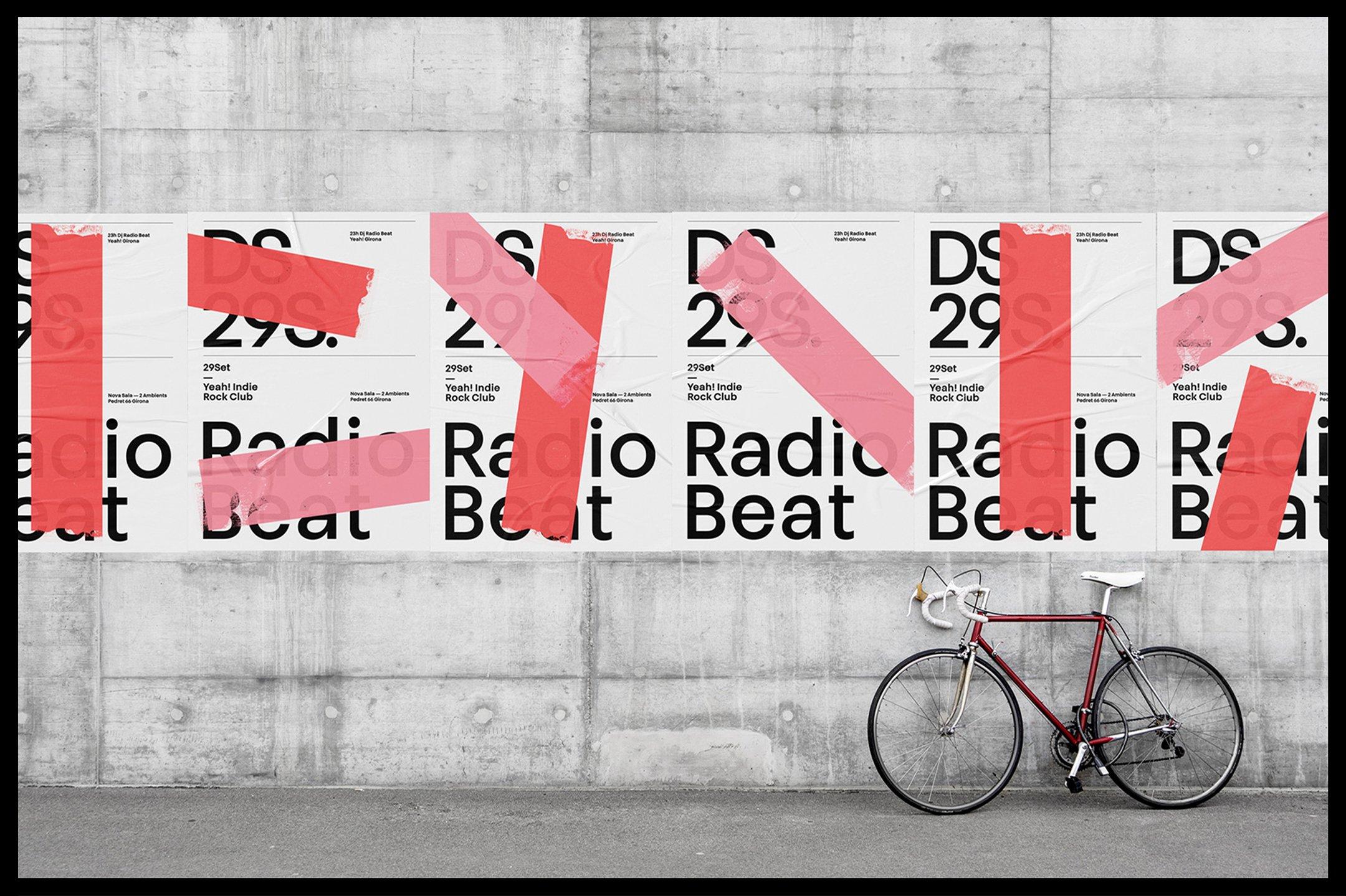 褶皱城市街头墙贴海报传单样机模板 Glued Poster Mockups插图(9)
