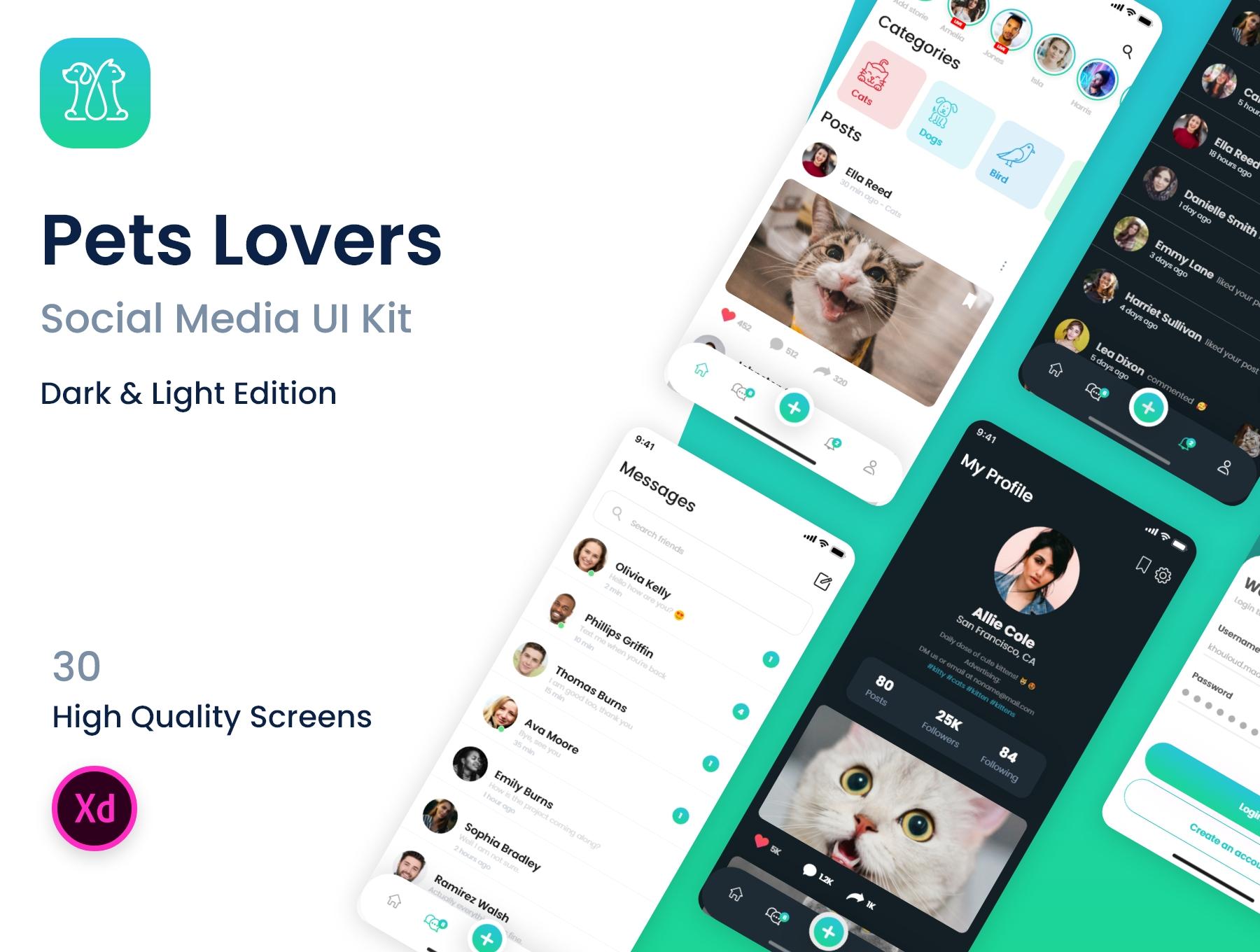 新媒体交友应用APP界面设计UI套件 PetsLovers – Social Media APP UI Kit插图