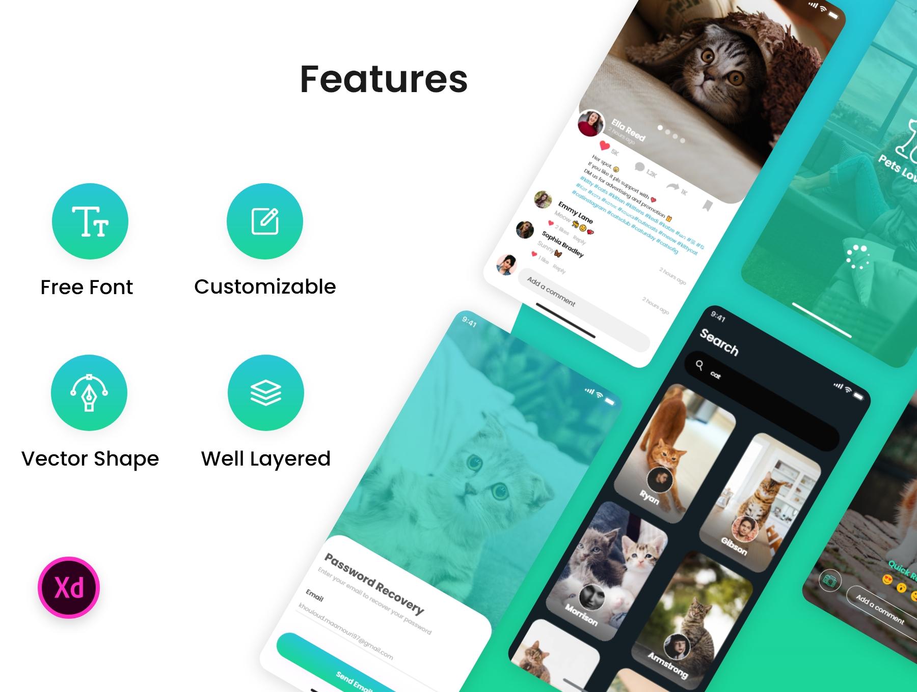 新媒体交友应用APP界面设计UI套件 PetsLovers – Social Media APP UI Kit插图(1)