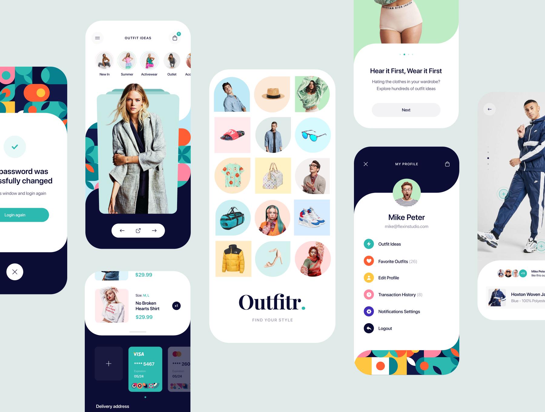 时尚潮流服装商城应用程序APP界面设计UI套件 Outfitr – Fashion UI Kit插图(4)