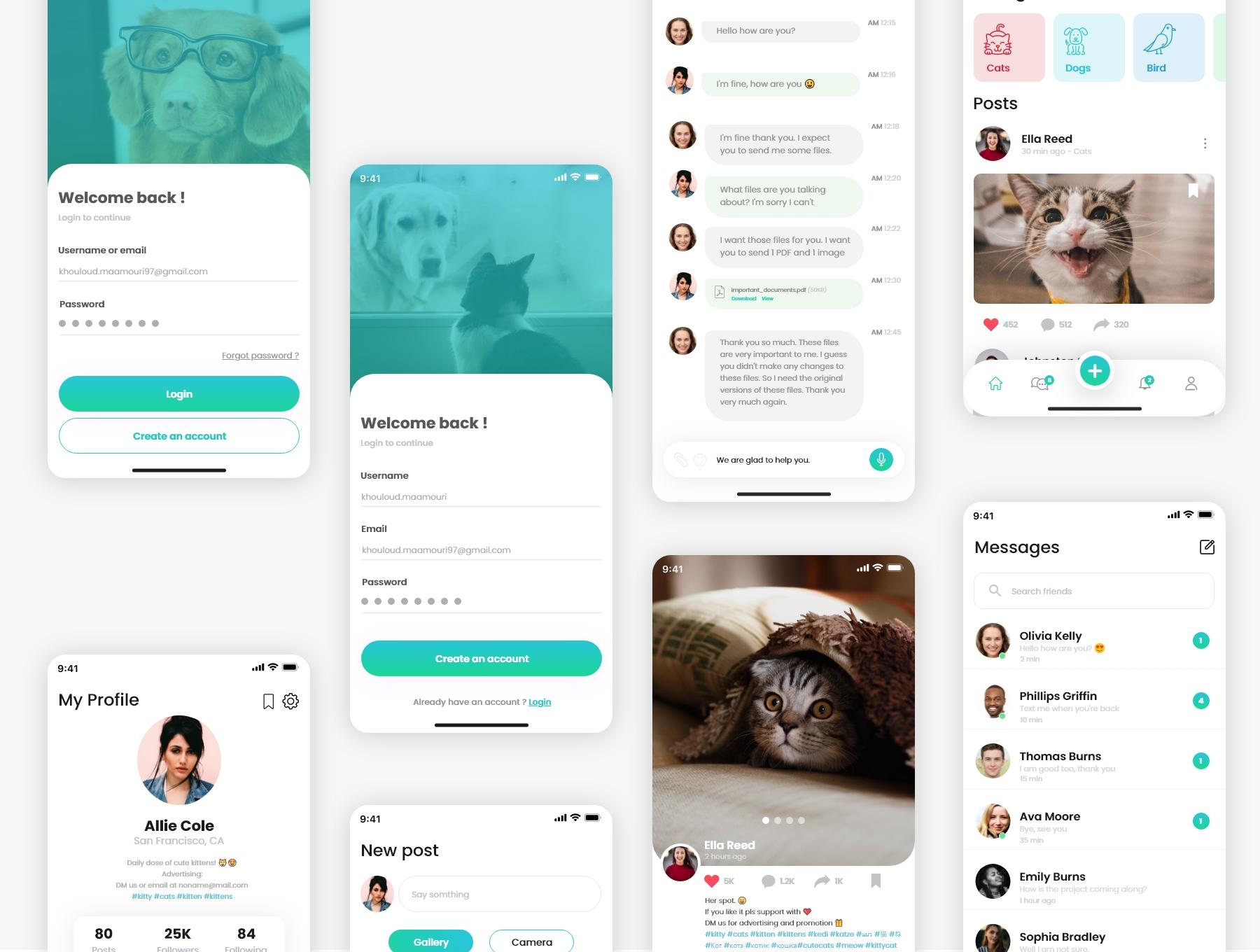 新媒体交友应用APP界面设计UI套件 PetsLovers – Social Media APP UI Kit插图(4)