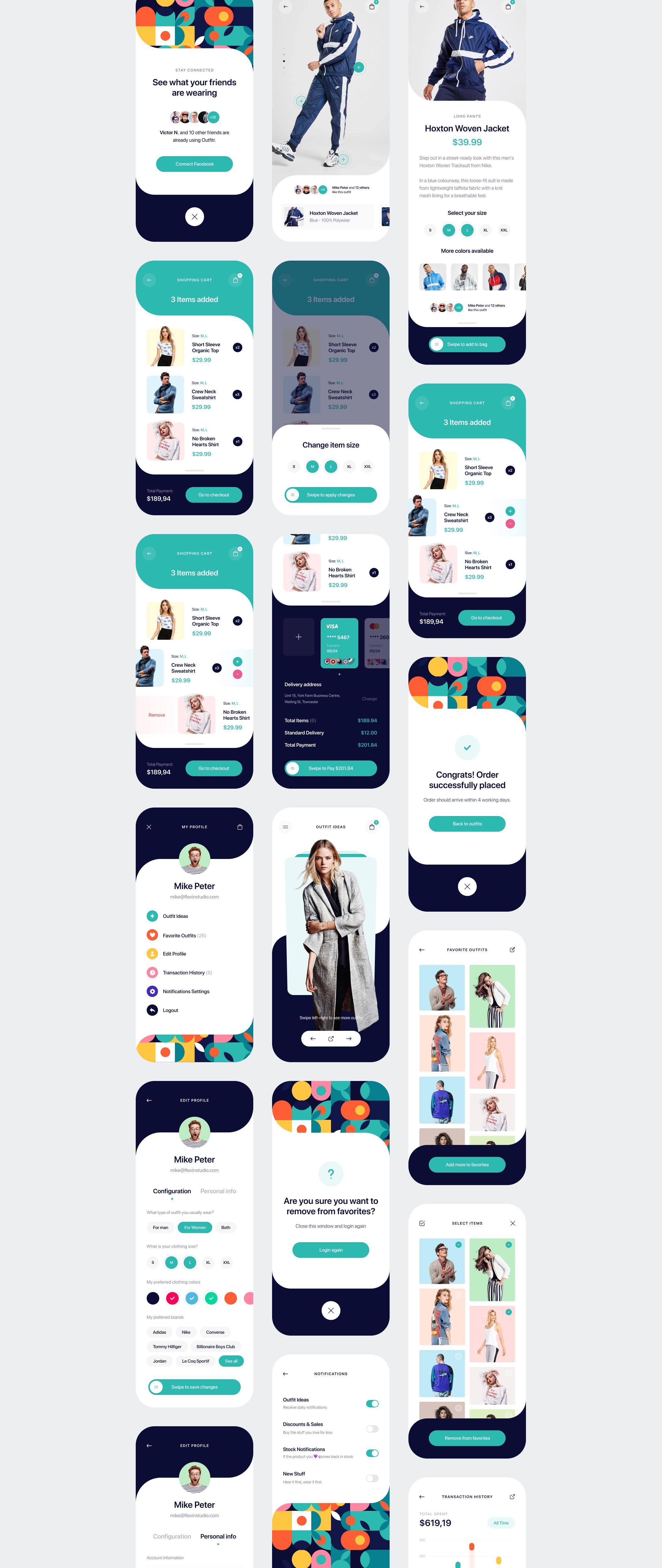 时尚潮流服装商城应用程序APP界面设计UI套件 Outfitr – Fashion UI Kit插图(11)