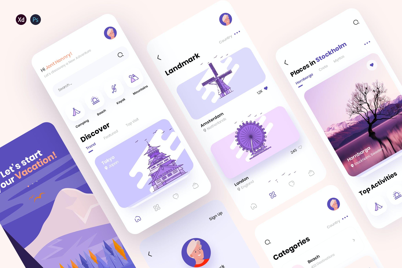 现代简约旅行摄影交友APP应用设计UI套件 Traap – Travel Mobile App UI Kit插图