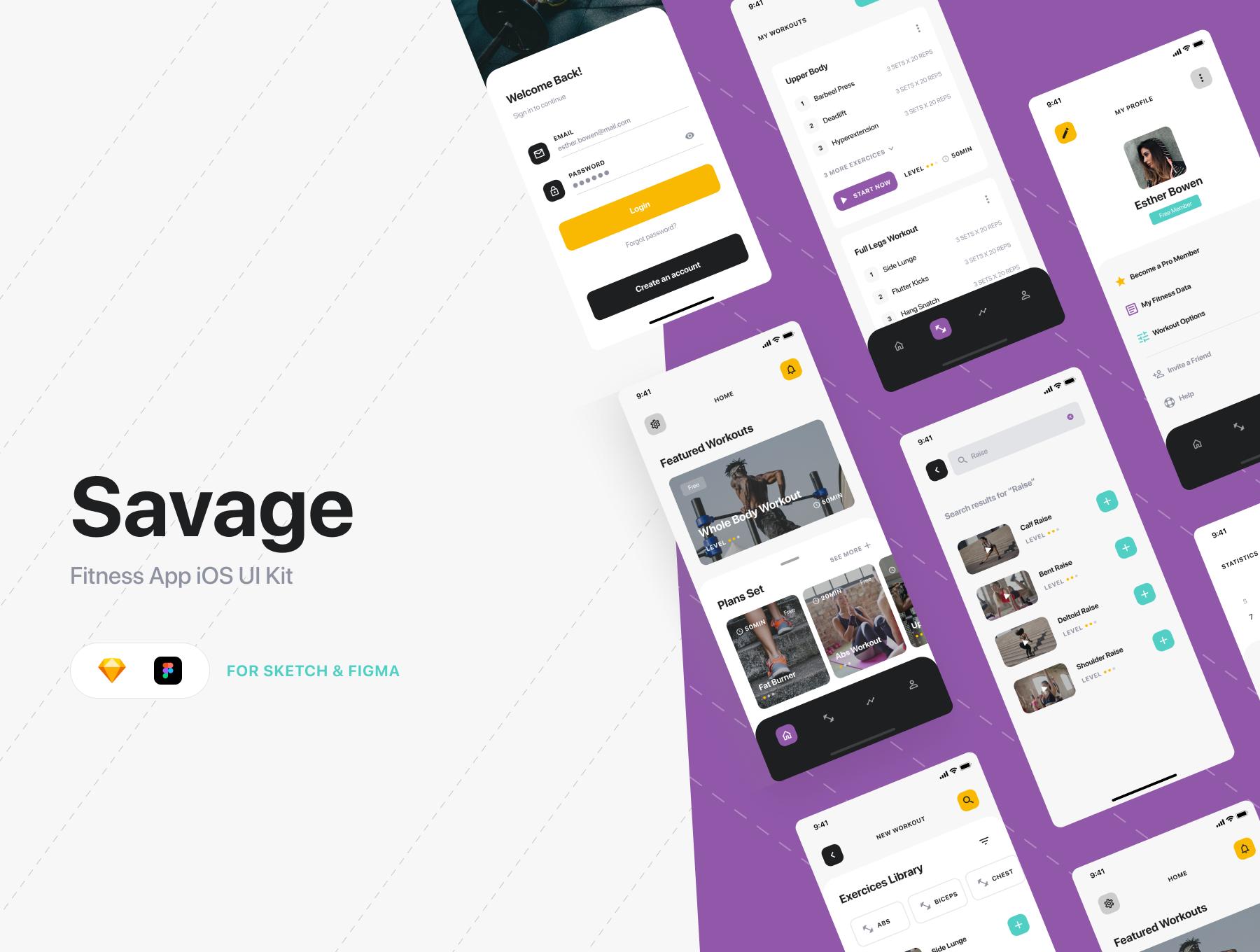 锻炼健身应用APP界面设计UI套件 Savage iOS UI Kit插图