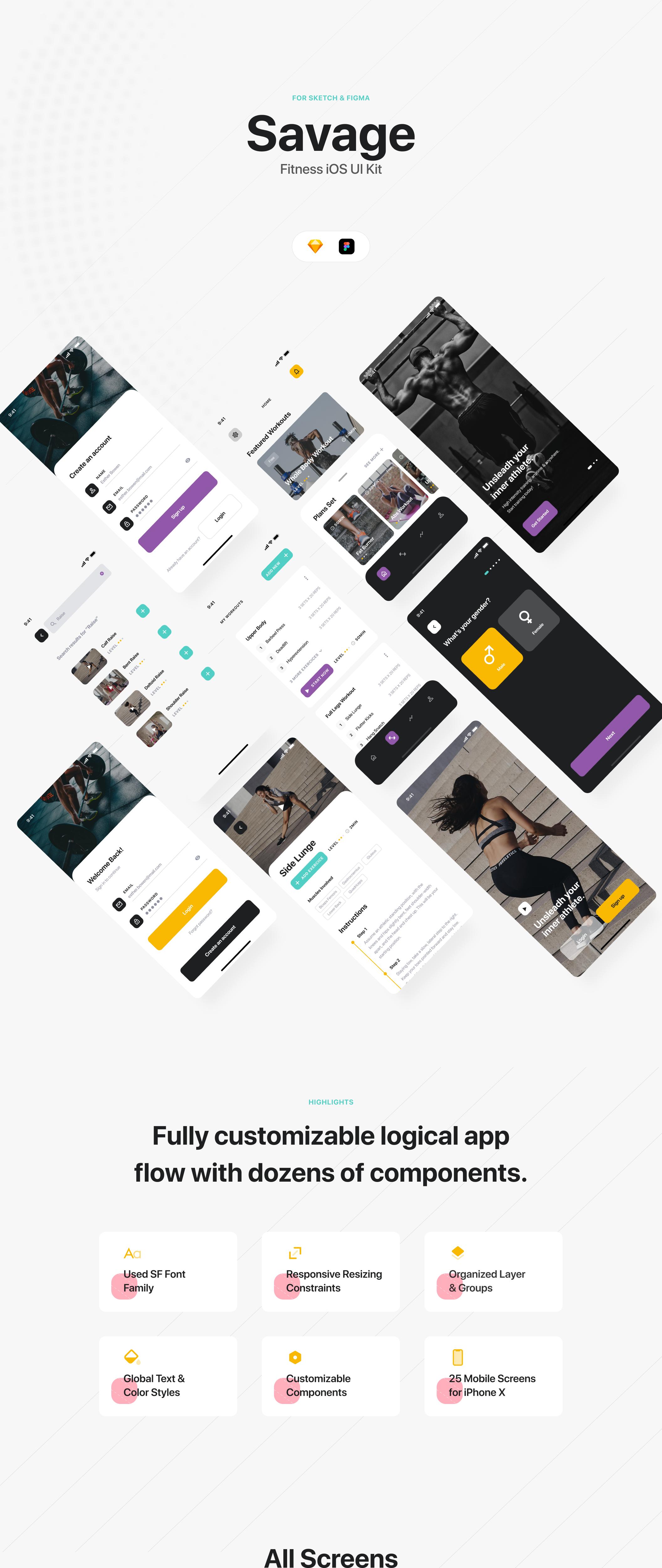 锻炼健身应用APP界面设计UI套件 Savage iOS UI Kit插图(6)