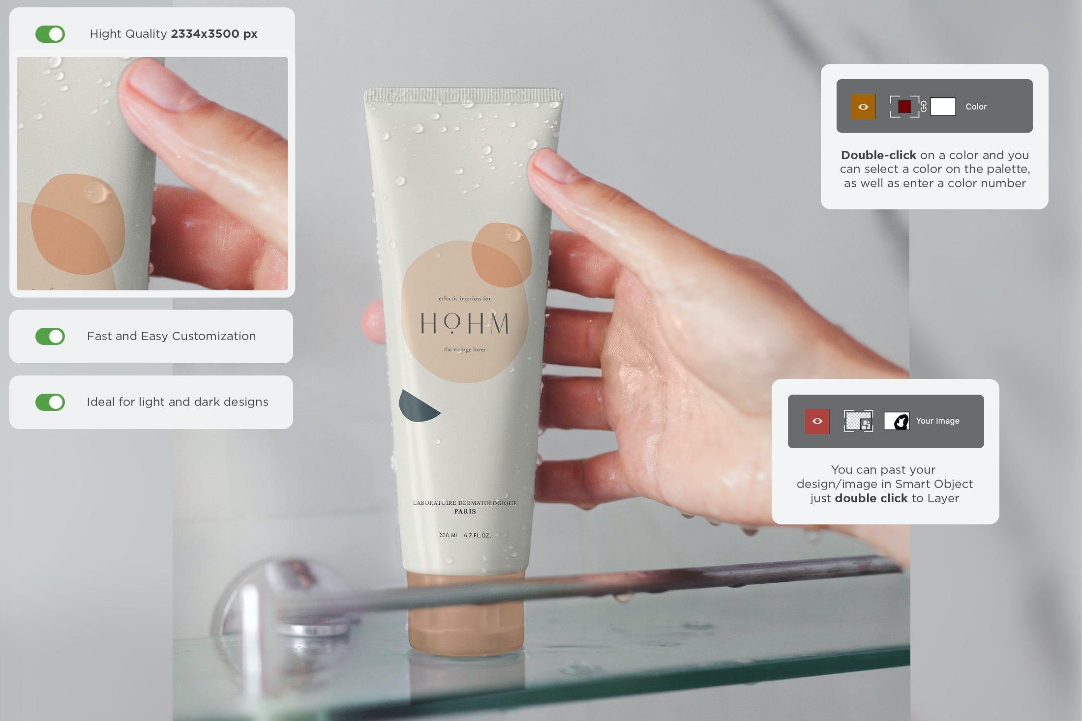 6款化妆品护手霜洗面奶包装样机模板 Cosmetic Mockup Cream Tube Bathroom插图(1)