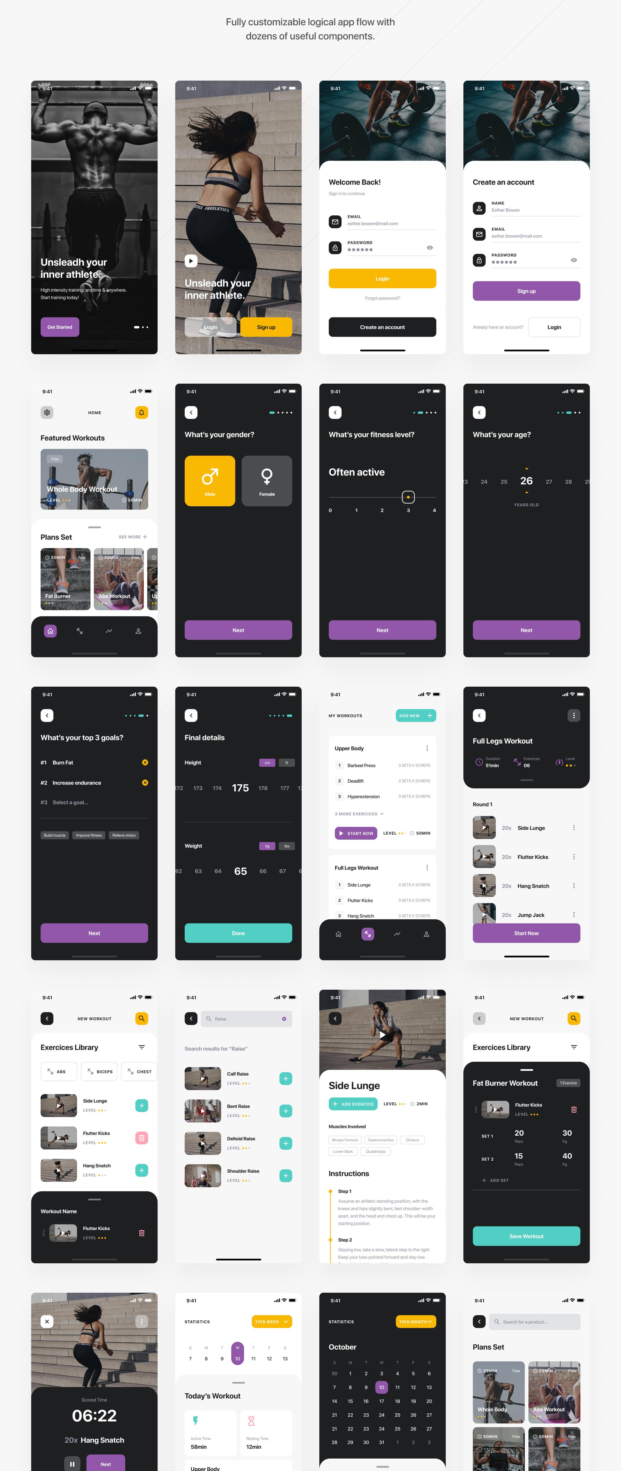 锻炼健身应用APP界面设计UI套件 Savage iOS UI Kit插图(7)