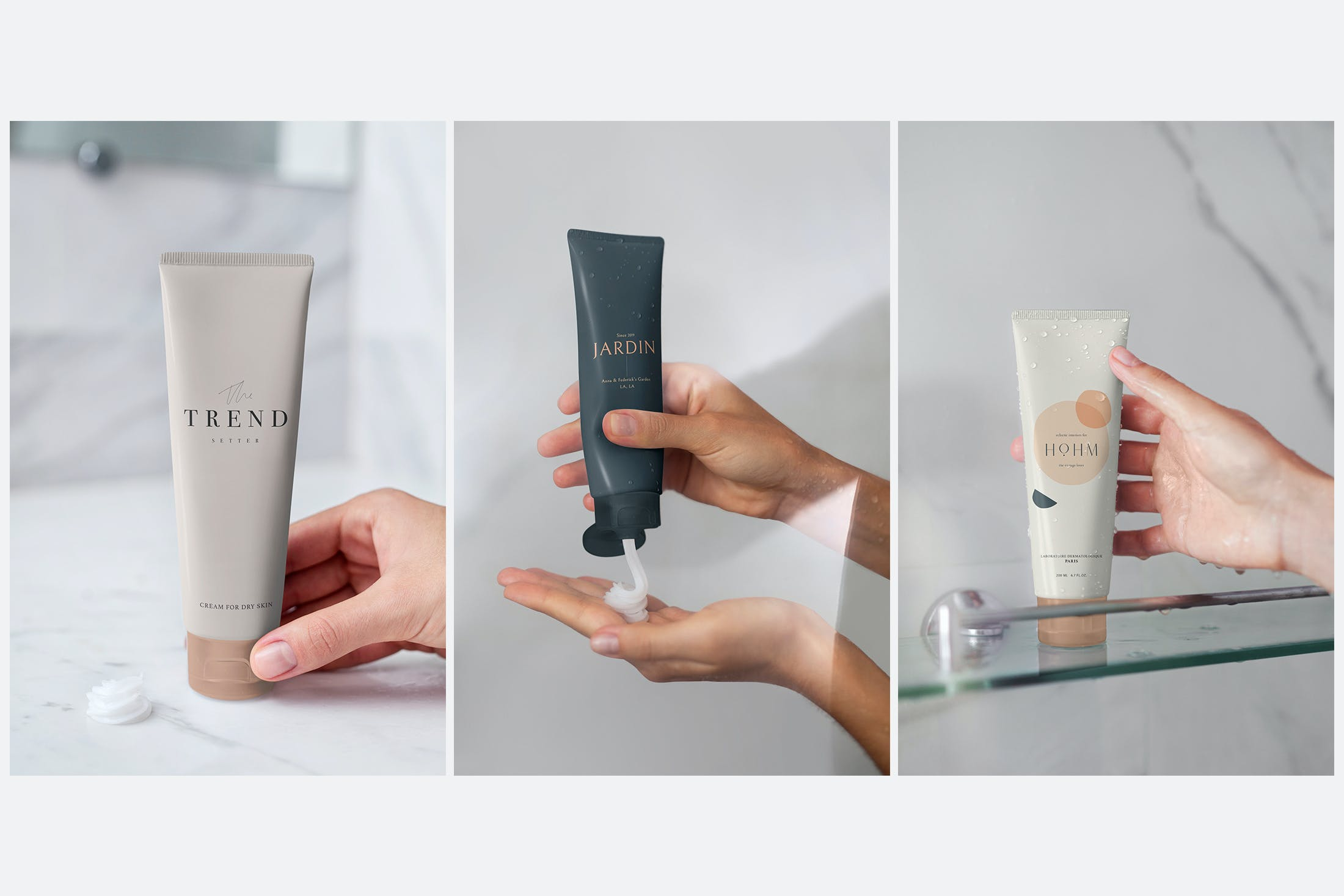 6款化妆品护手霜洗面奶包装样机模板 Cosmetic Mockup Cream Tube Bathroom插图(2)