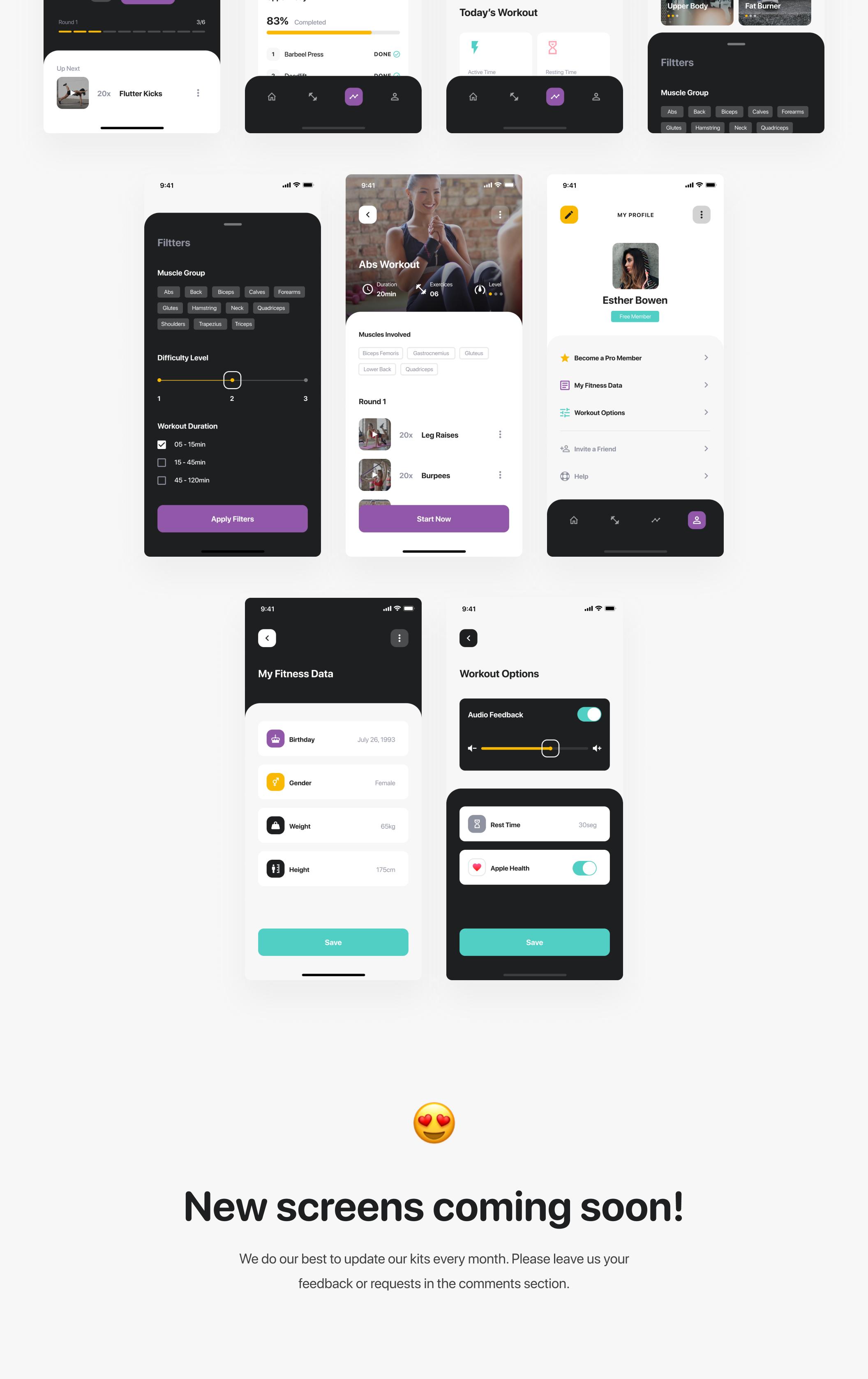 锻炼健身应用APP界面设计UI套件 Savage iOS UI Kit插图(8)