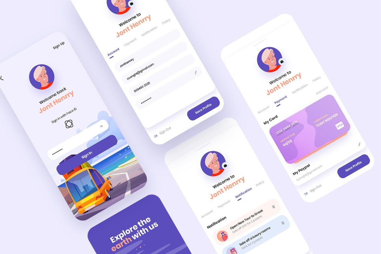 现代简约旅行摄影交友APP应用设计UI套件 Traap – Travel Mobile App UI Kit插图(3)