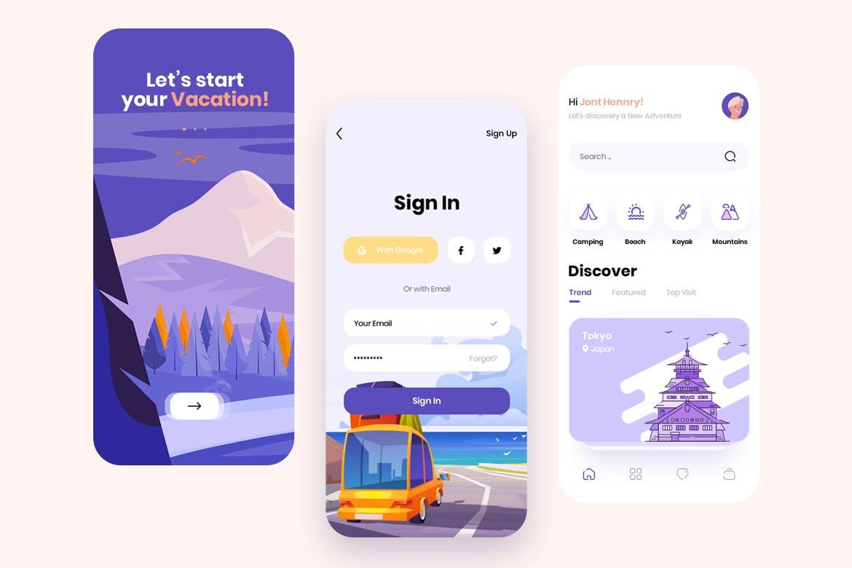 现代简约旅行摄影交友APP应用设计UI套件 Traap – Travel Mobile App UI Kit插图(4)