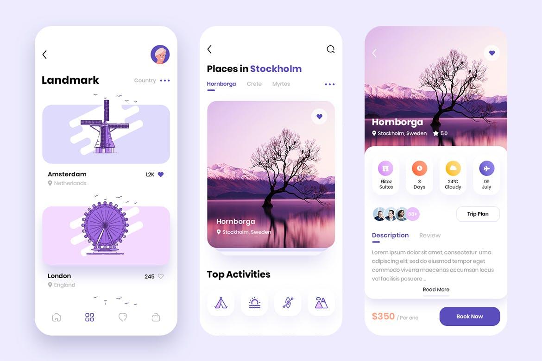 现代简约旅行摄影交友APP应用设计UI套件 Traap – Travel Mobile App UI Kit插图(5)