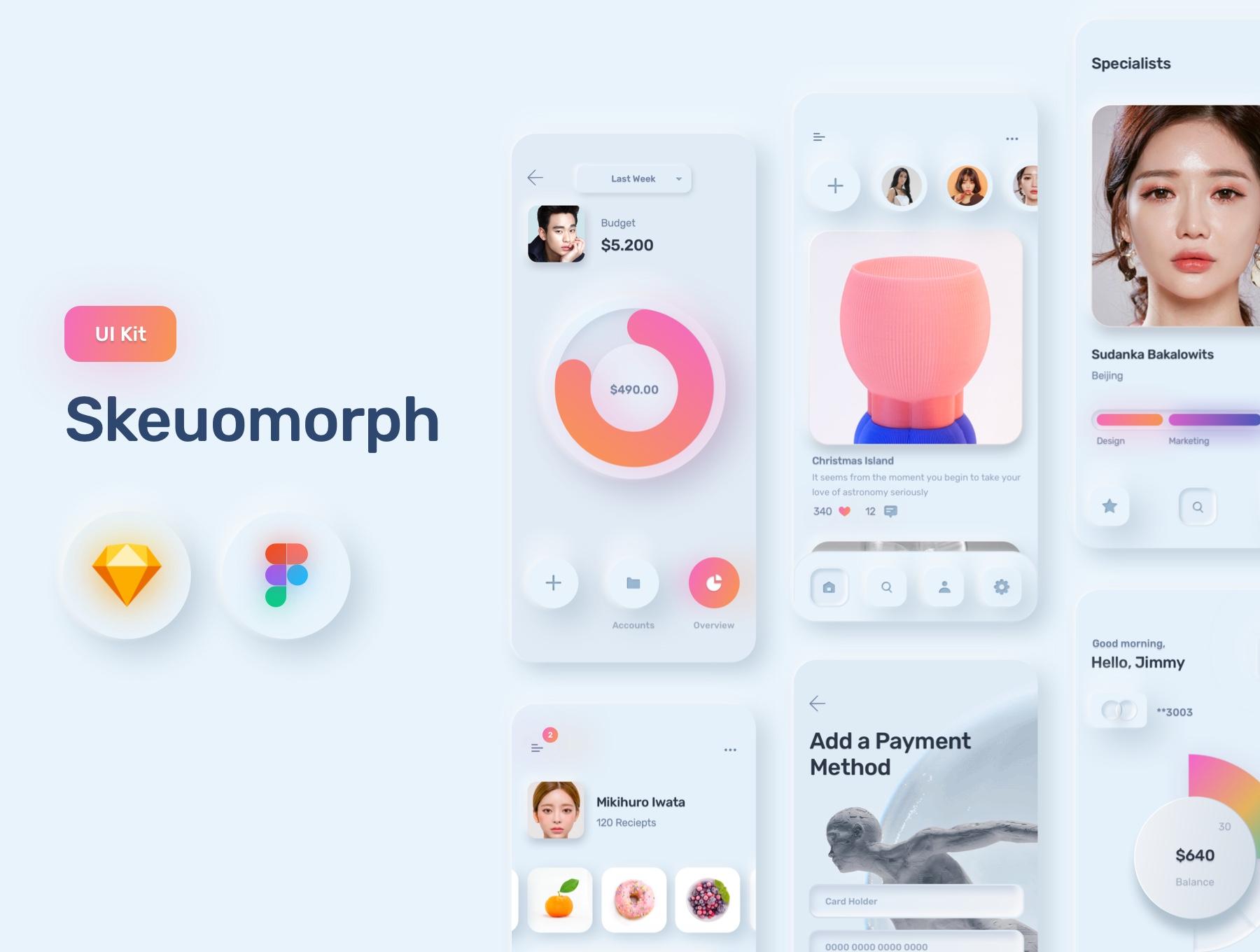 电商购物&金融类拟物化APP应用UI界面设计套件 Skeuomorph Ui Kit插图