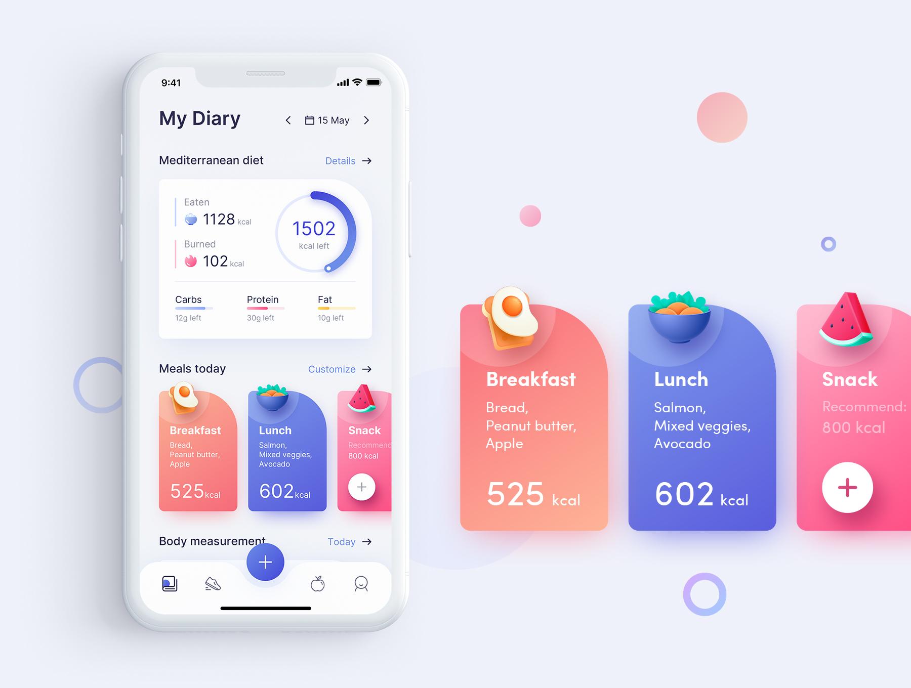 饮食运动训练应用程序iOS界面设计UI套件 ioFit – Diet & Training App UI Kit Home  App插图(1)