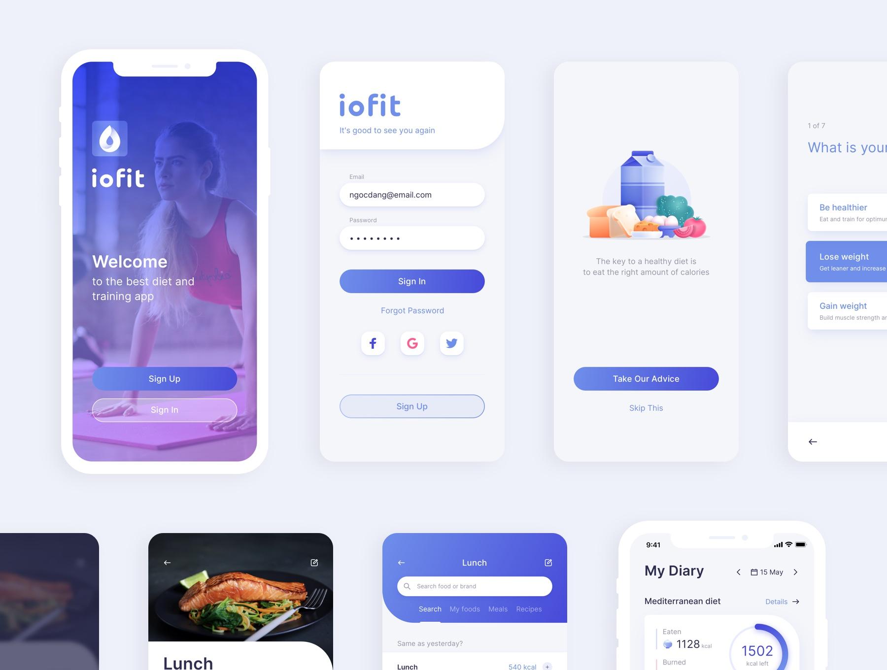 饮食运动训练应用程序iOS界面设计UI套件 ioFit – Diet & Training App UI Kit Home  App插图(4)