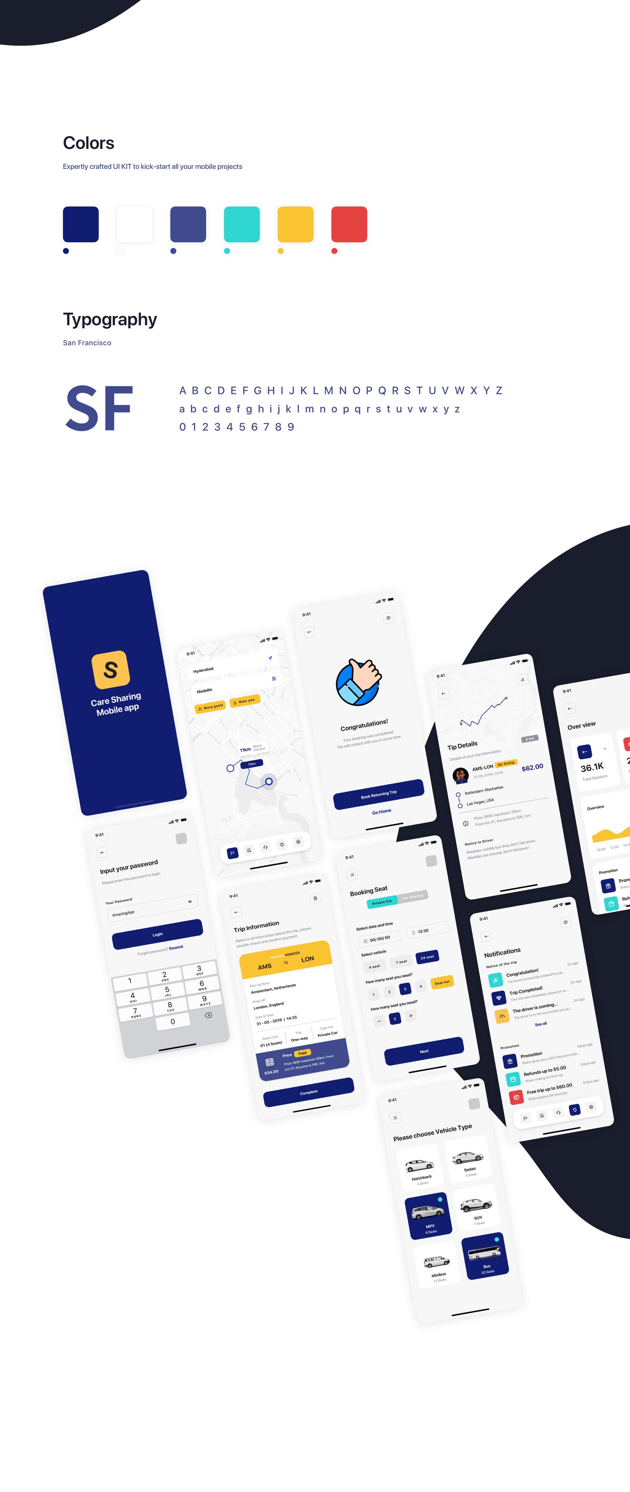 汽车租赁应用程序APP界面设计UI套件 Lydia – Car Booking & Sharing Mobile App UI Kit插图(1)