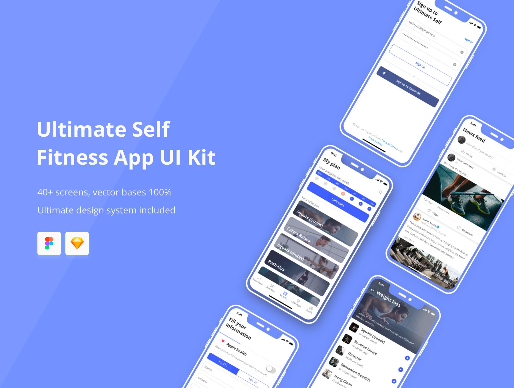 健身体育锻炼应用程序APP界面设计UI套件 Ultimate Self Fitness App UI Kit插图