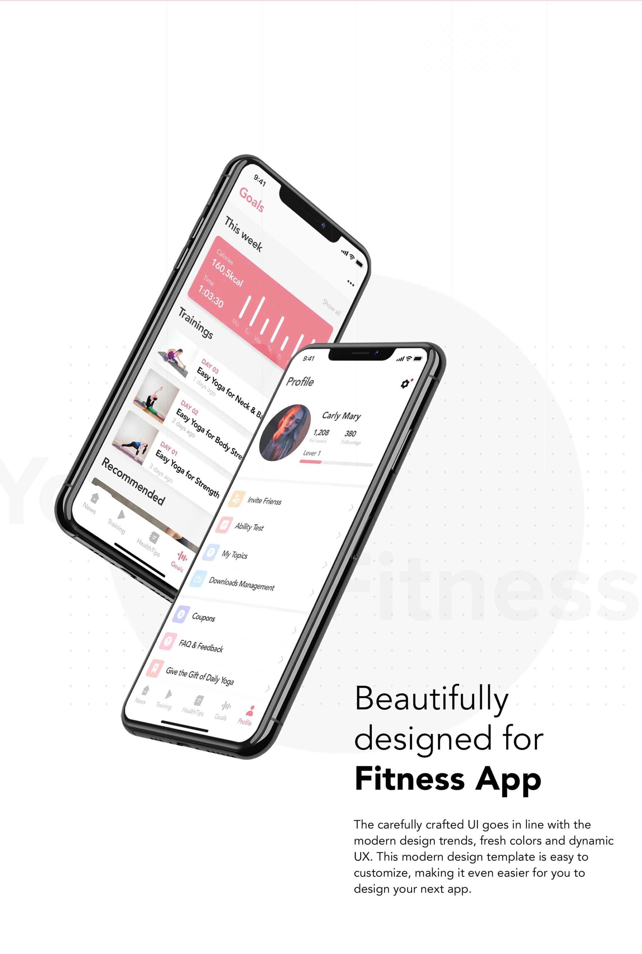 瑜伽健身应用程序APP界面设计UI套件 Yoga Fitness Mobile App UI Kit插图(3)